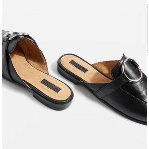 NEW Topshop Kokonut Leather Mules - Black